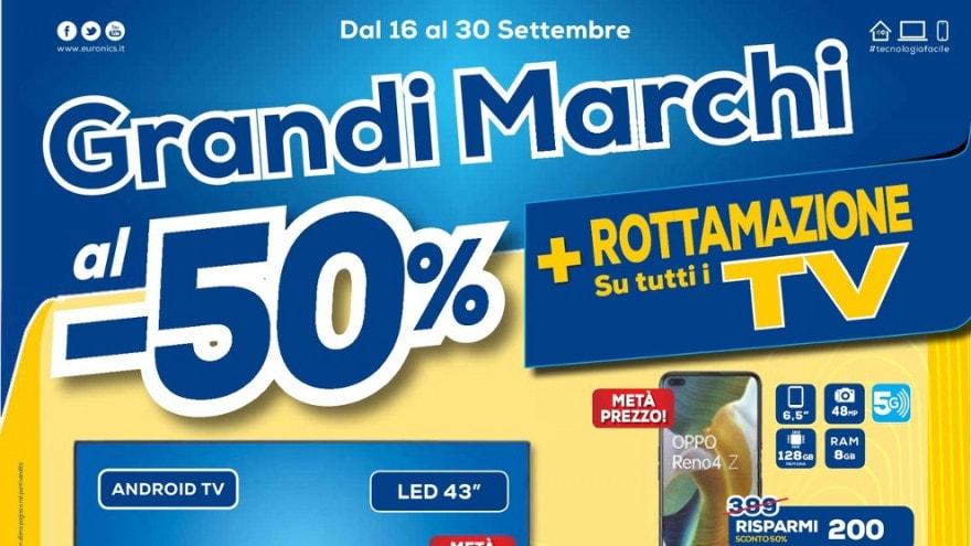 """Volantino Euronics """"Grandi Marchi al -50%"""", """"Qualità Scontata"""", """"Follie Hi-Tech"""" fino al 30 settembre"""