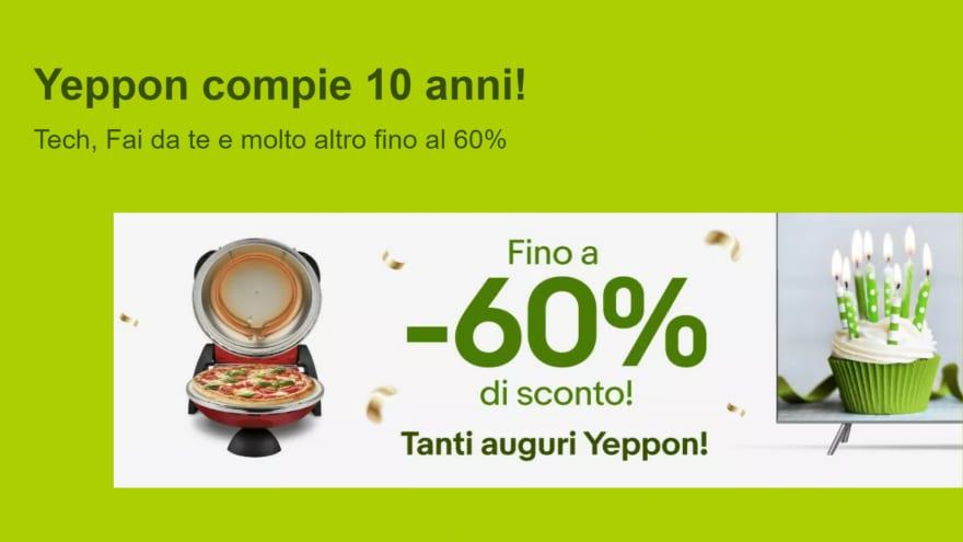 """Offerte eBay """"Yeppon compie 10 anni!"""": fino al -60% su TV e non solo"""