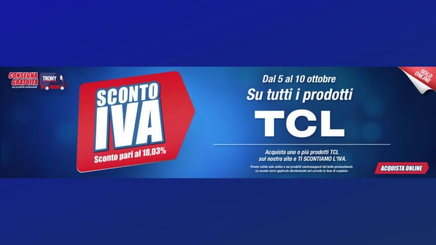 """Offerte Trony """"Sconto IVA"""" 5-10 ottobre: -18% sugli smartphone TCL"""