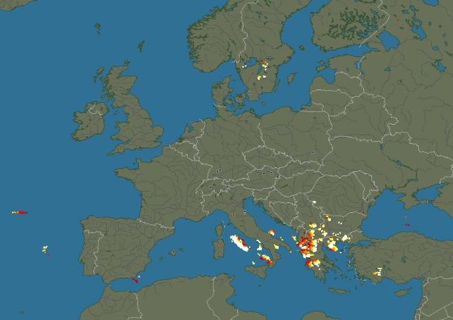 La mappa mondiale dei fulmini, in tempo reale