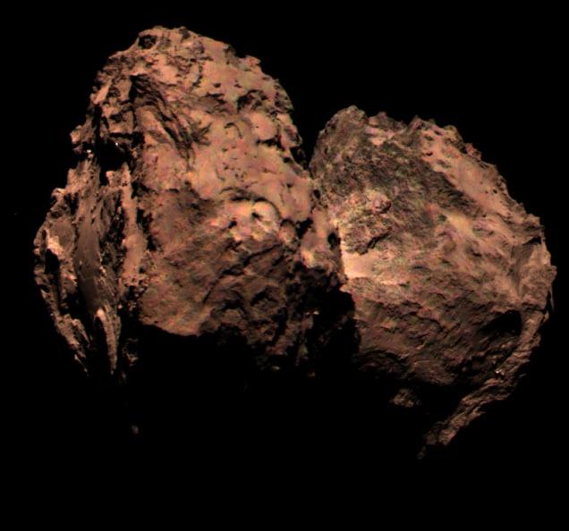 La prima foto a colori della cometa 67P fatta da Rosetta