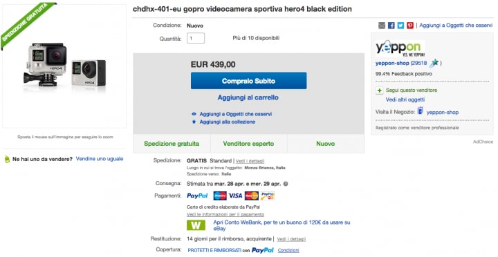 offerta gopro hero4 black