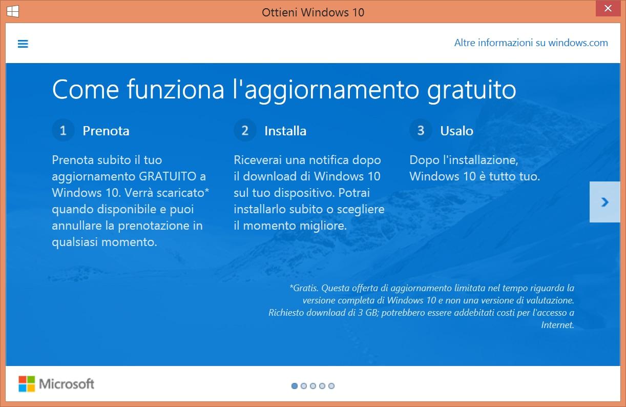 Prenota aggiornamento windows 10 1