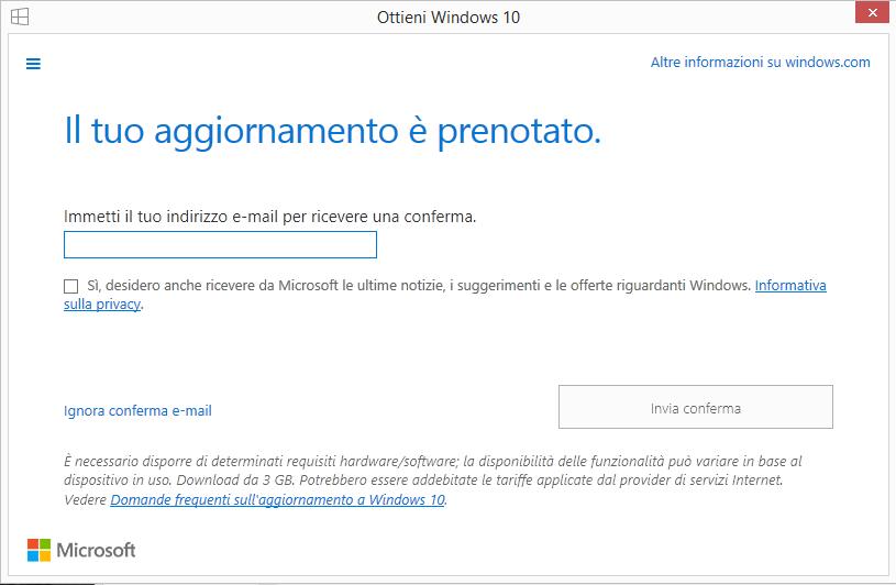 Windows 10 aggiornamento prenotato mail