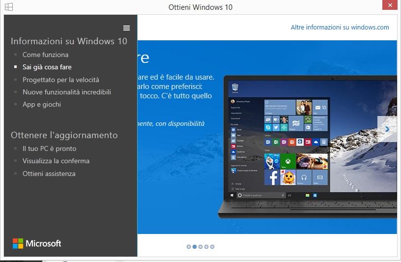 Windows 10 prenota aggiornamento sidebar