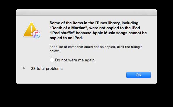 Apple Music - iPod Nano Shuffle errore iTunes