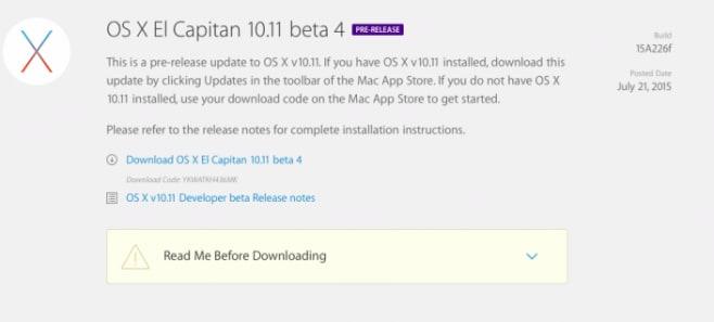 Apple OS X El Capitan beta 4