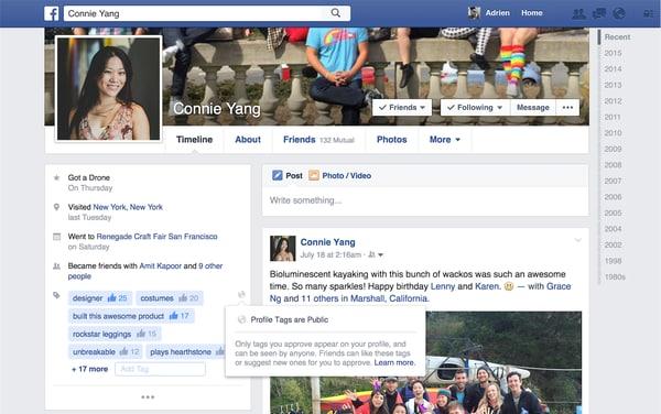 Facebook tag profilo
