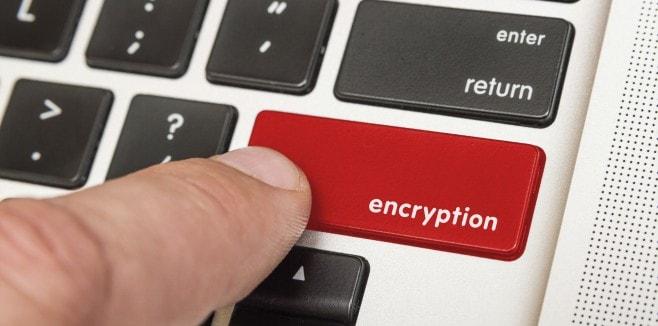 Encryption key on a computer keyboard
