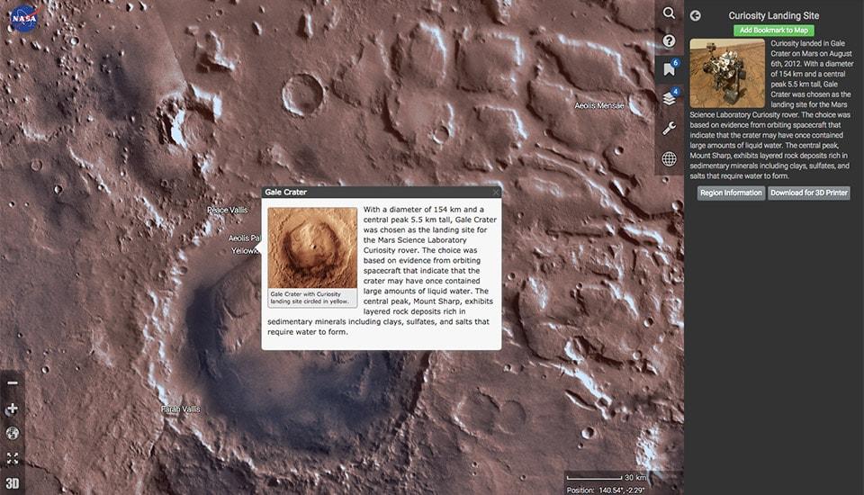 Mars Trek: l'avversario di Google Earth che vi permette di visitare Marte