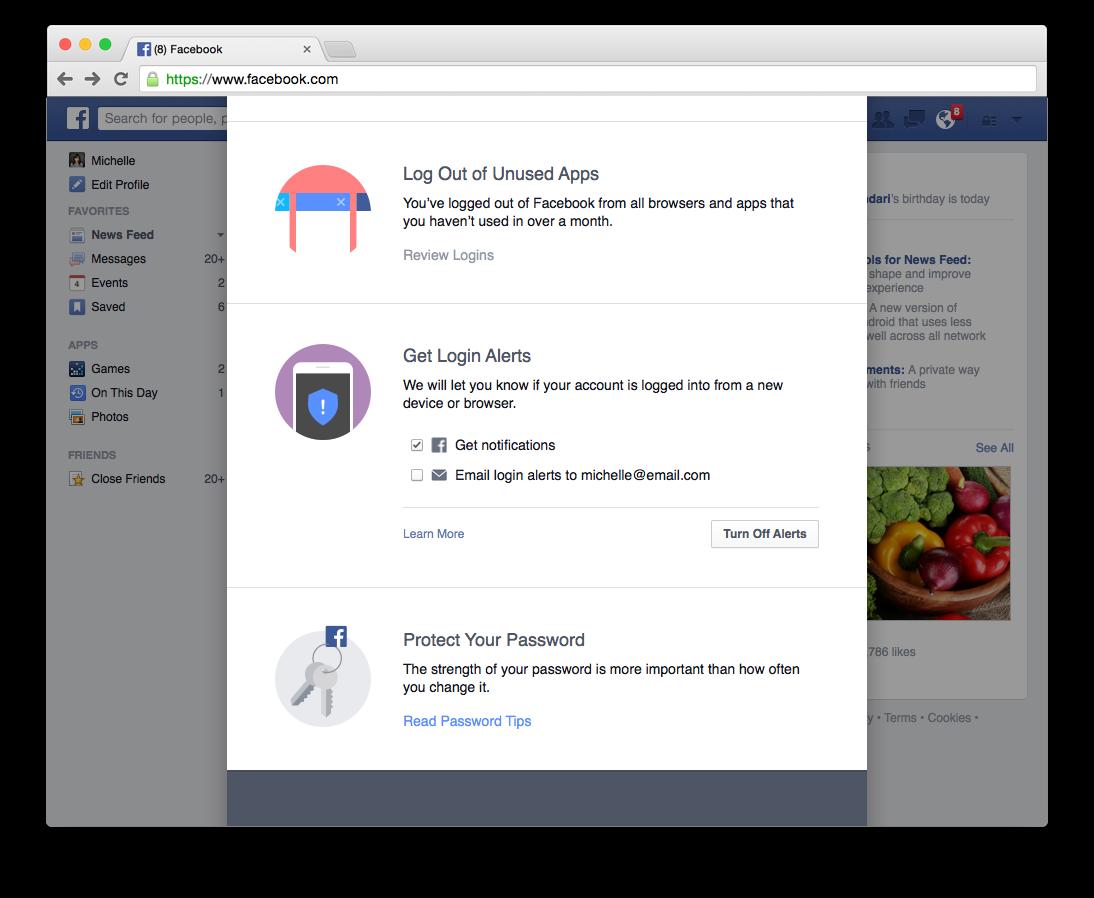 strumento controllo sicurezza facebook