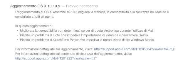 OS X 10.10.5 note di rilascio