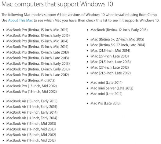 mac supporto windows 10