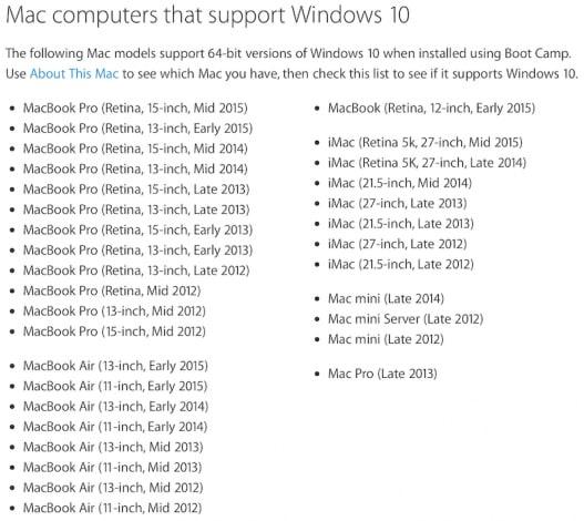mac supporto windows 10