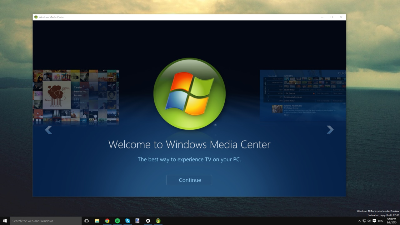 windows media center su windows 10