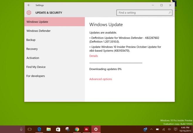 Windows 10 Insider - aggiornamento ottobre