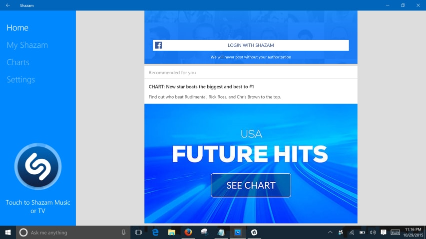 Shazam per Windows si aggiorna con nuova interfaccia e supporto a Cortana
