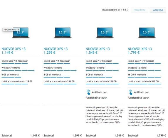 dell xps 13 caratteristiche e prezzi