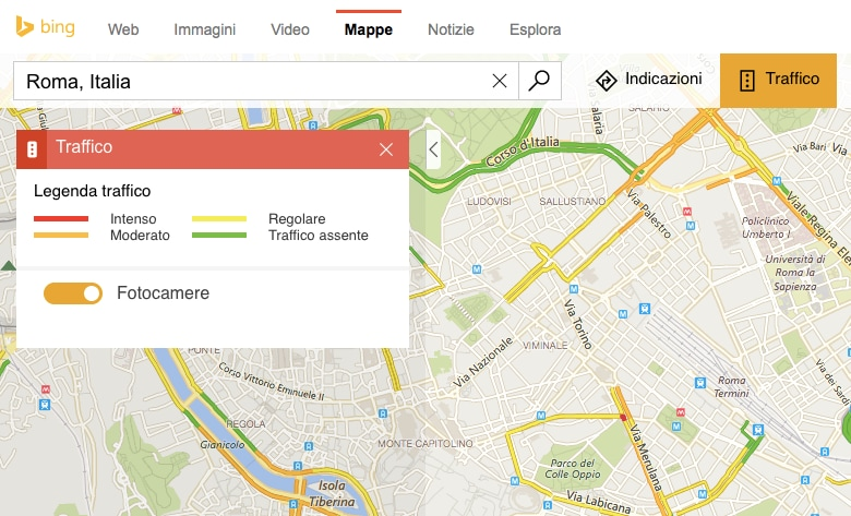 Bing Mappe – videocamere traffico – 2
