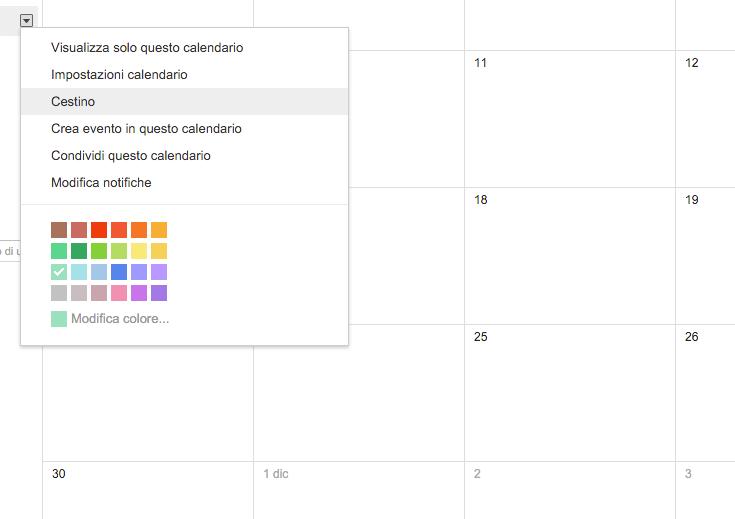 Google Calendar Cestino