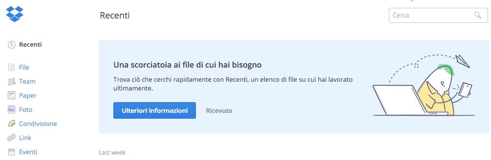 """Dropbox sempre più pratico: su web arrivano i file """"Recenti"""""""