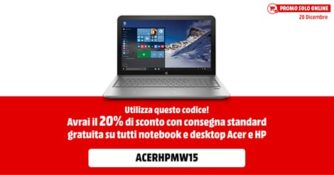 Sempre da MediaWorld, solo online e solo per oggi, 20% di sconto su notebook e desktop Acer e HP