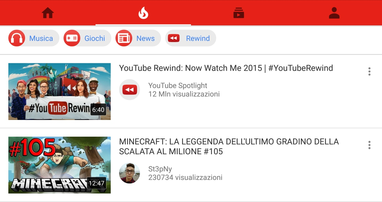YouTube di tendenza
