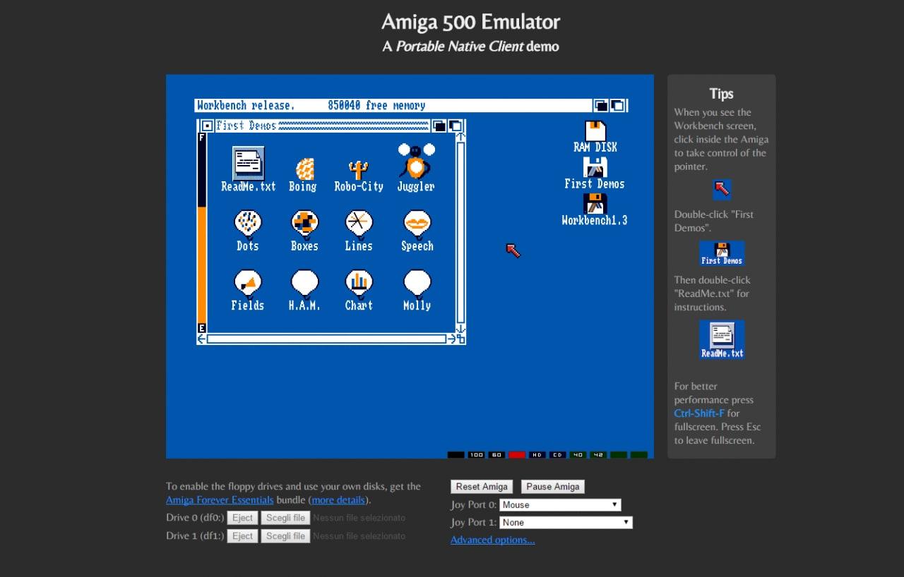 Native Client porta un completo Amiga 500 su Google Chrome