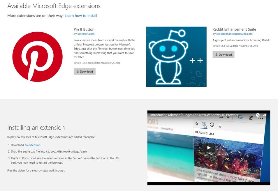 """Le prime estensioni per Edge appaiono """"incidentalmente"""" sulle pagine Microsoft"""