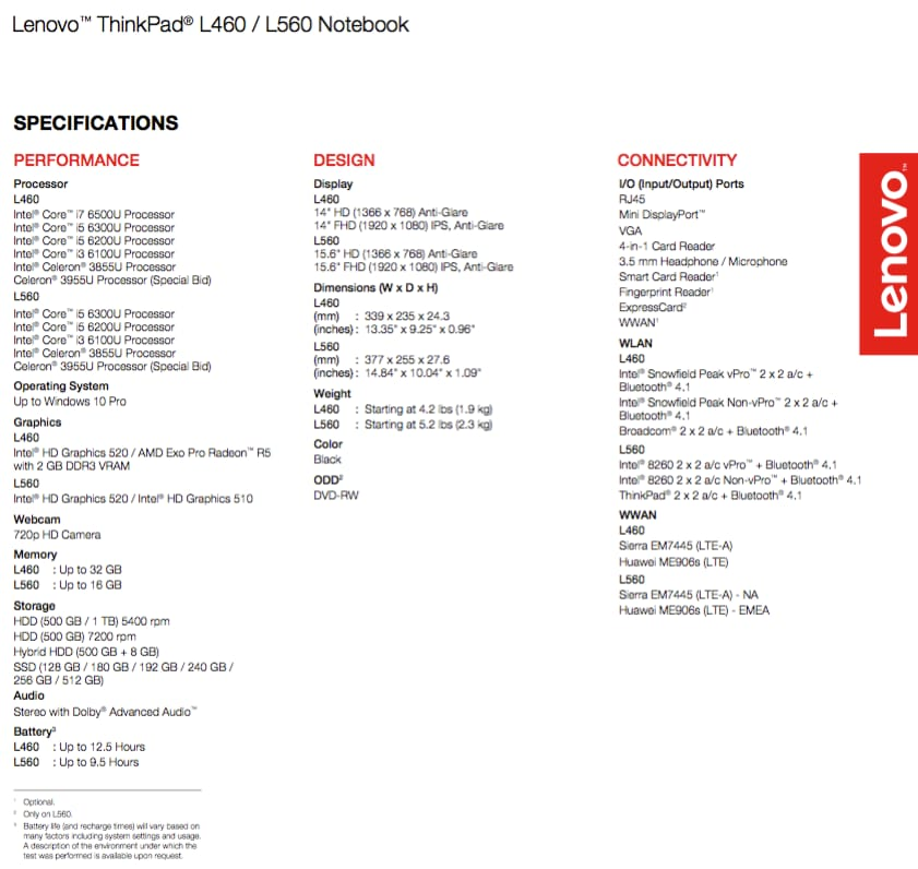 specifiche lenovo thinkpad l460 l560