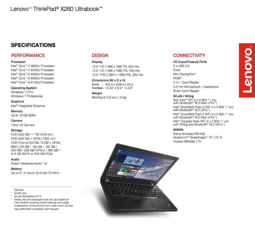 specifiche lenovo thinkpad x260