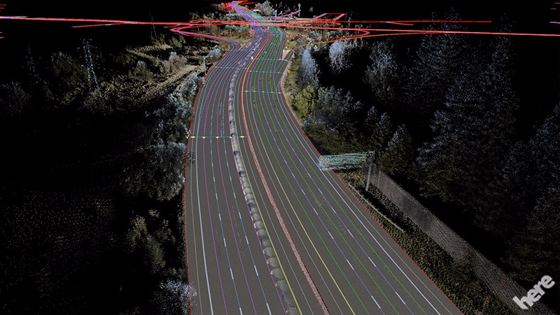 HERE HD Live Map self driving guida autonoma