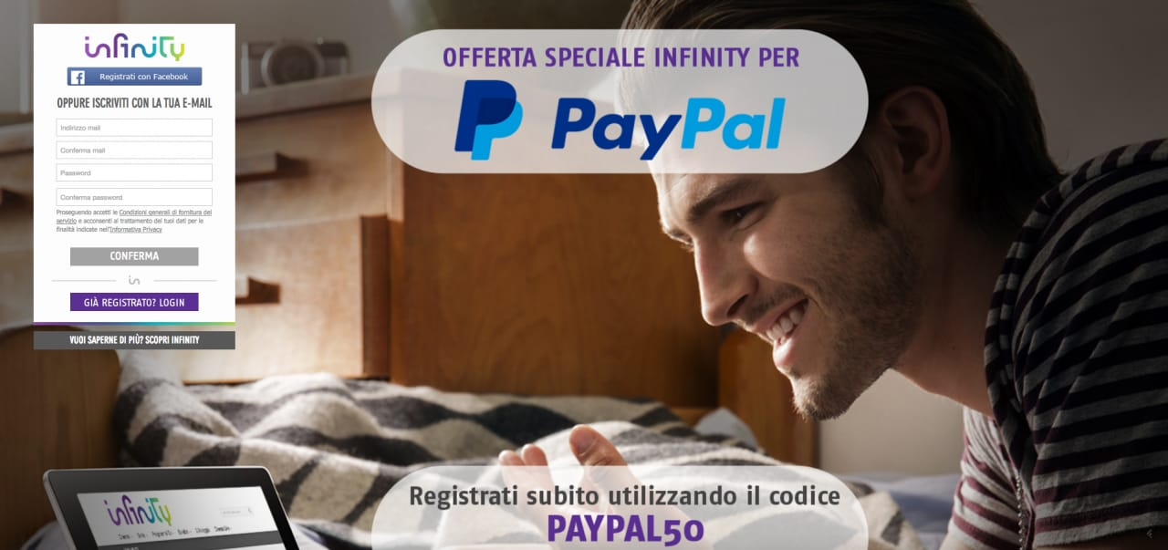 Un mese gratis di Infinity e sei mesi a 3,99€ grazie a questo codice promo offerto da PayPal