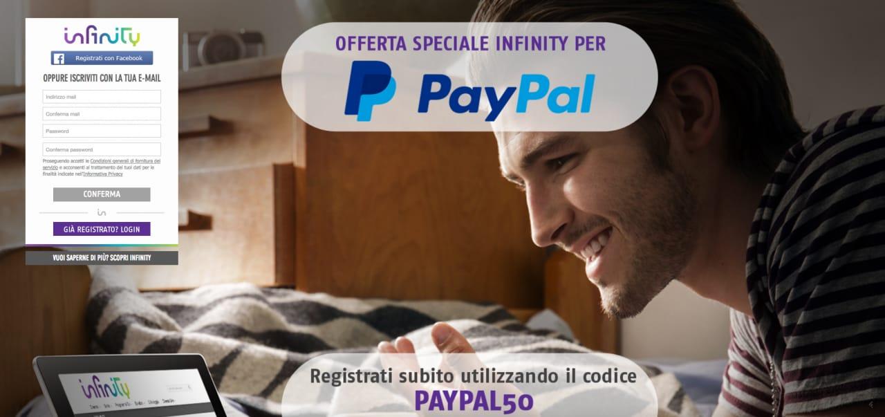 Infinity PayPal codice promo