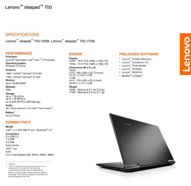 Lenovo IdeaPad 700_specifiche