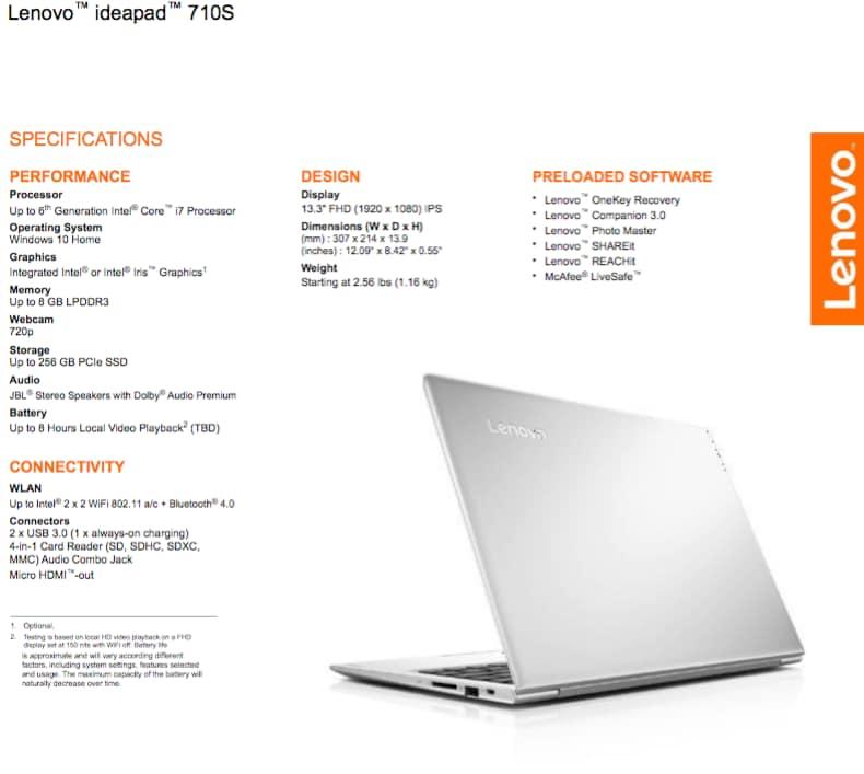 Lenovo IdeaPad 710S_specifiche