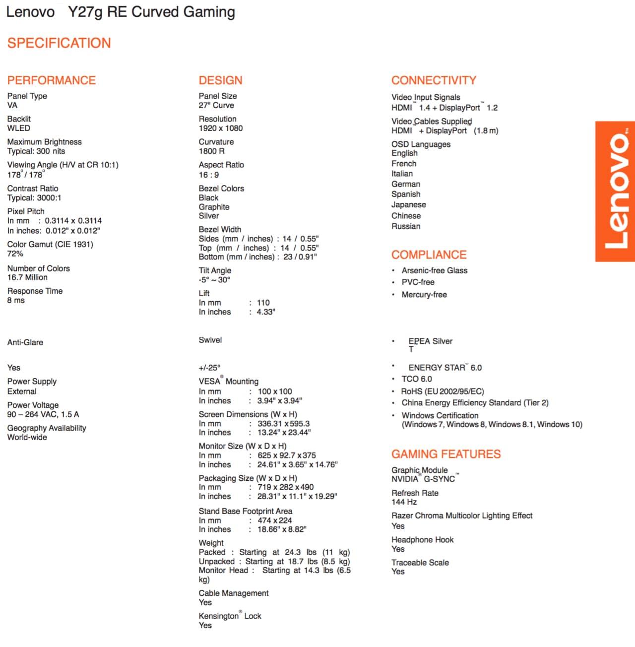 Lenovo Y27G specifiche