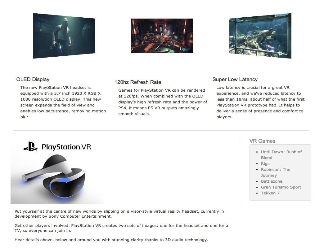 PlayStation VR info
