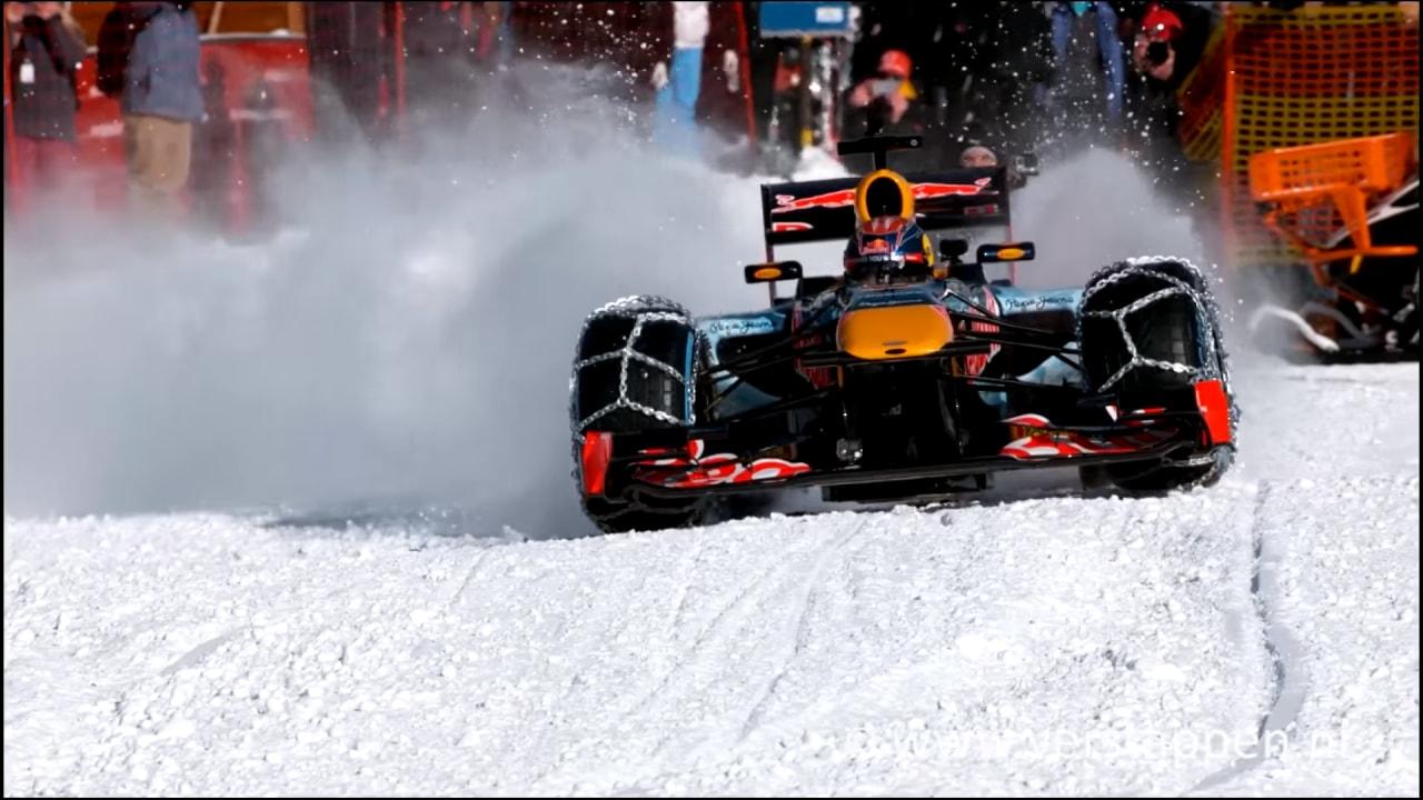Max Verstappen monta le catene alla propria F1 e sfida le nevi delle montagne austriache (video)