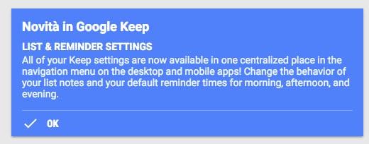Google keep promemoria ed elenchi