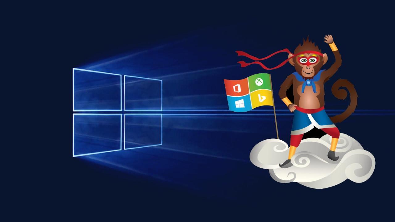 sfondo windows 10 scimmia ninja