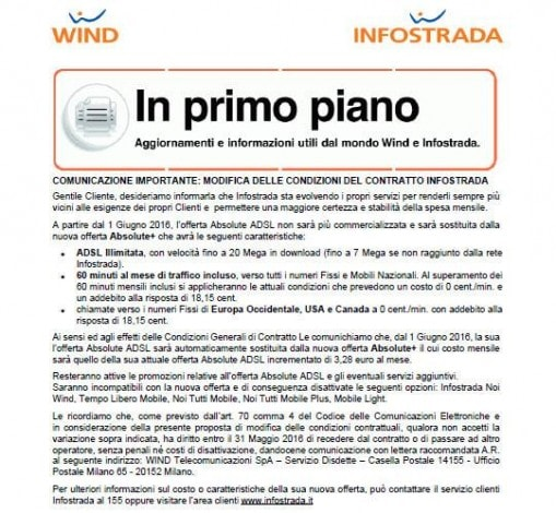 Infostrada - Absolute ADSL nuovo contratto