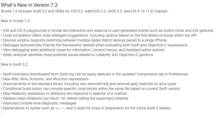 changelog xcode 7.3