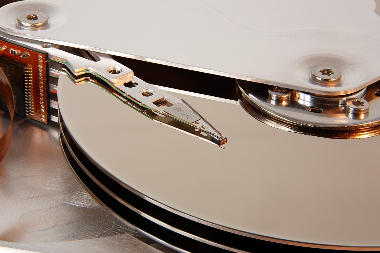 Head and platters detail of a hard disk drive Seagate Medalist S