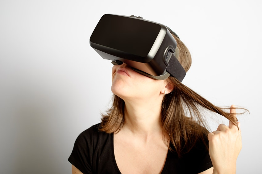 Woman Making Decisions Wearing Virtual Reality Headset