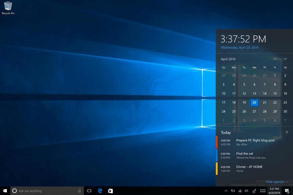 Windows 10 Build 14328 calendario