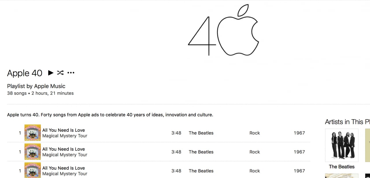 apple music playlist compleanno 40 anni