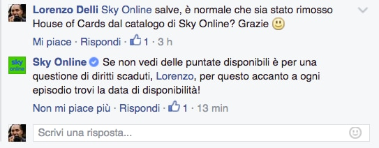 Risposta Sky Online House of Cards