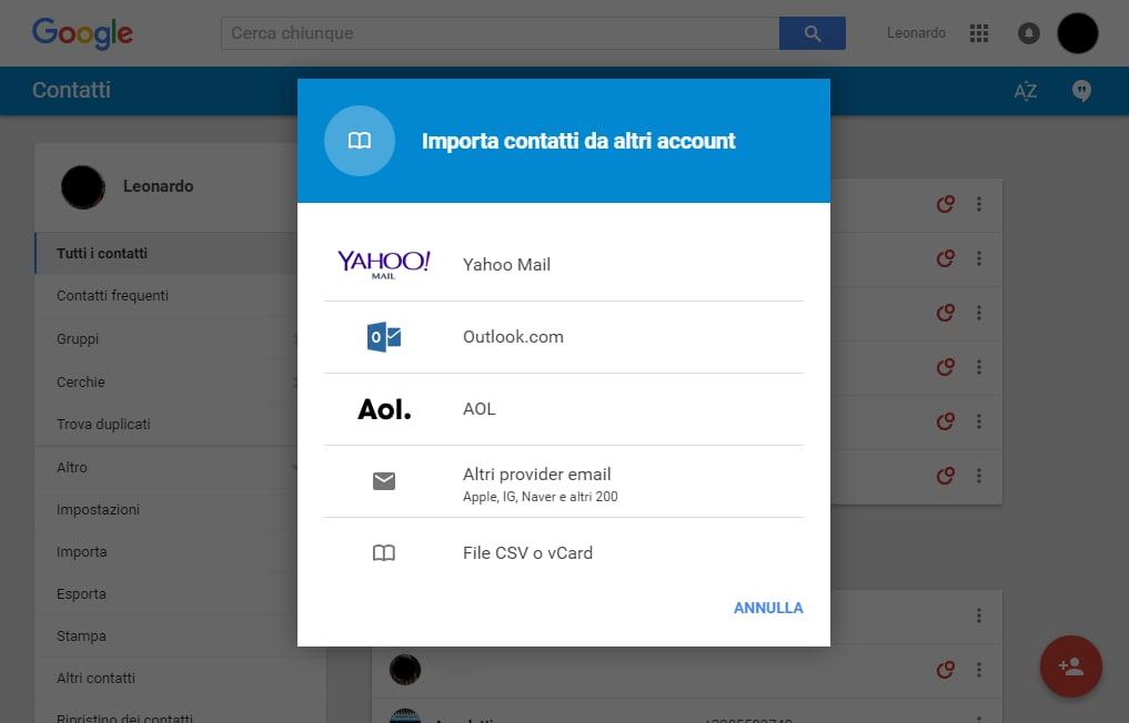 google importazione contatti