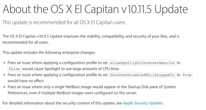 os x 10.11.5 changelog